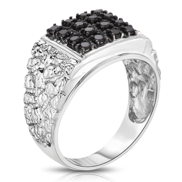 14K White Gold Black Diamond (0.53 Ct, I1-I2 Clarity, Black Color) Men's Ring