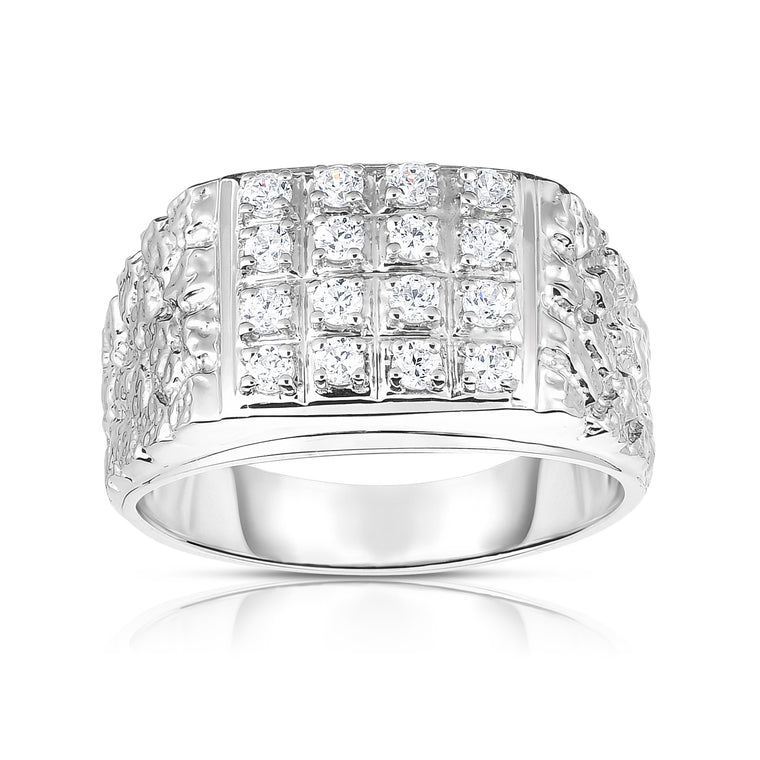 14K Gold Diamond (0.50 Ct, I1-I2 Clarity, G-H Color) Men's Ring