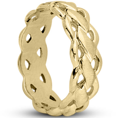 14K Gold Braided Wedding Band, 7 MM