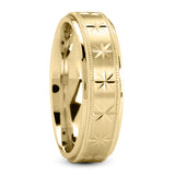 14K Gold Unisex Wedding Band, Star Design, 6 MM
