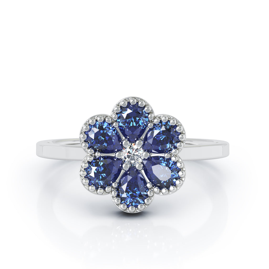 14K Gold Blue Sapphire & Diamond Cluster Flower Ring
