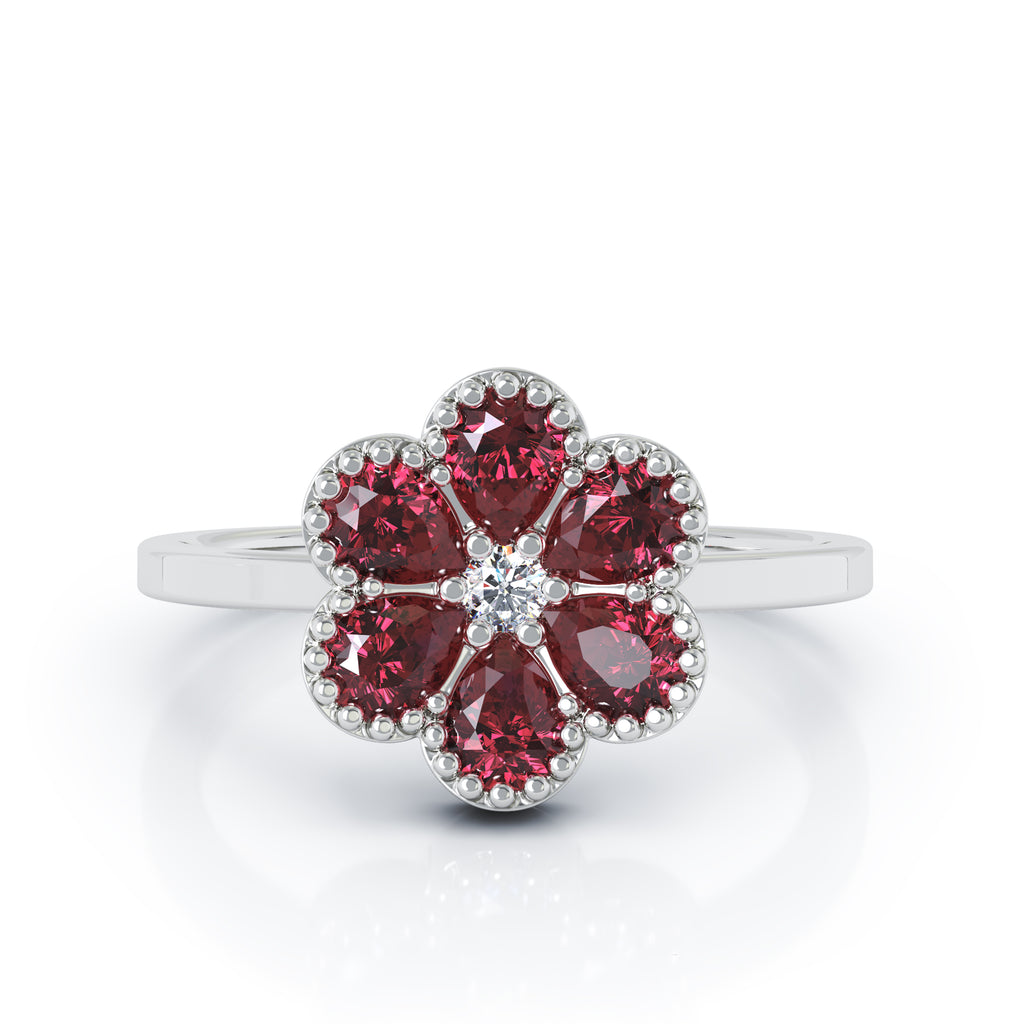 14K Gold Ruby & Diamond Cluster Flower Ring