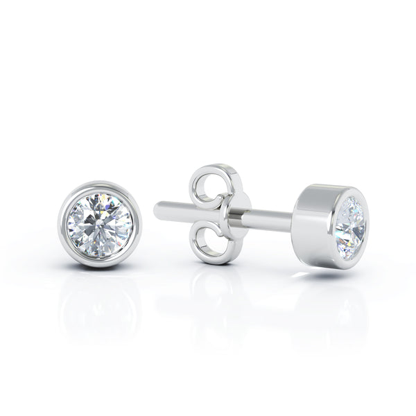 14K Gold Diamond (0.25 Ct, G-H Color, SI2-I1 Clarity) Bezel Set Stud Earrings
