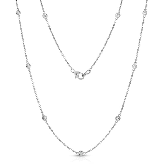 14K Gold Diamond by the Yard 10 Station Necklace (1/2 Ct, G-H, SI2-I1), 18 Inches