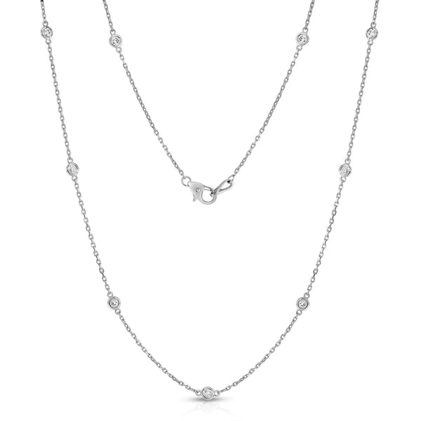 14K Gold 10 Station Diamond Necklace (1/2 Ct, G-H, SI2-I1), 18 Inches