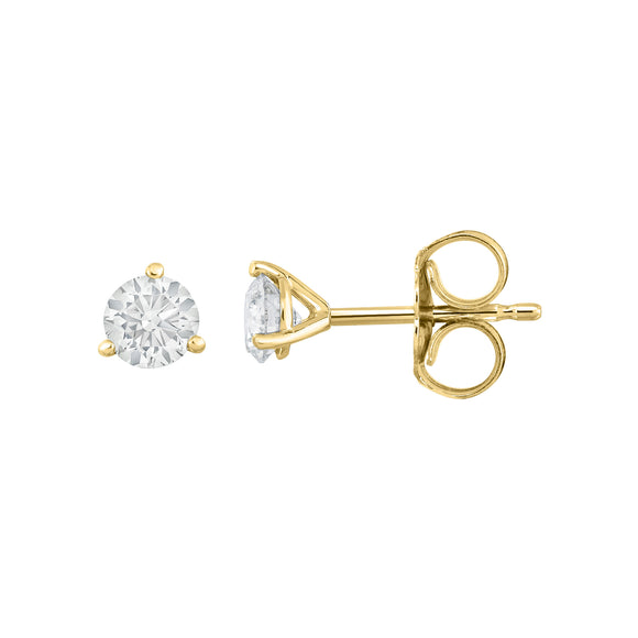 IGI Certified 14K White Gold Diamond (0.33 Ct, I-J Color, I1-I2 Clarity) Martini Stud Earrings
