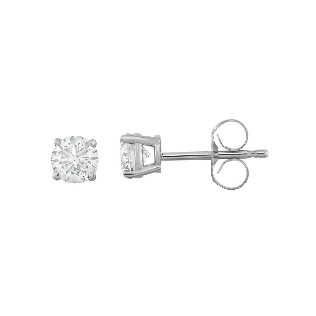 IGI Certified 14K  Gold Diamond (0.50 Ct, I-J Color, I1-I2 Clarity) Stud Earrings