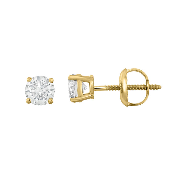 IGI Certified 14K  Gold Diamond (0.50 Ct, I-J, I1-I2) Stud Earrings With Screw-Backs