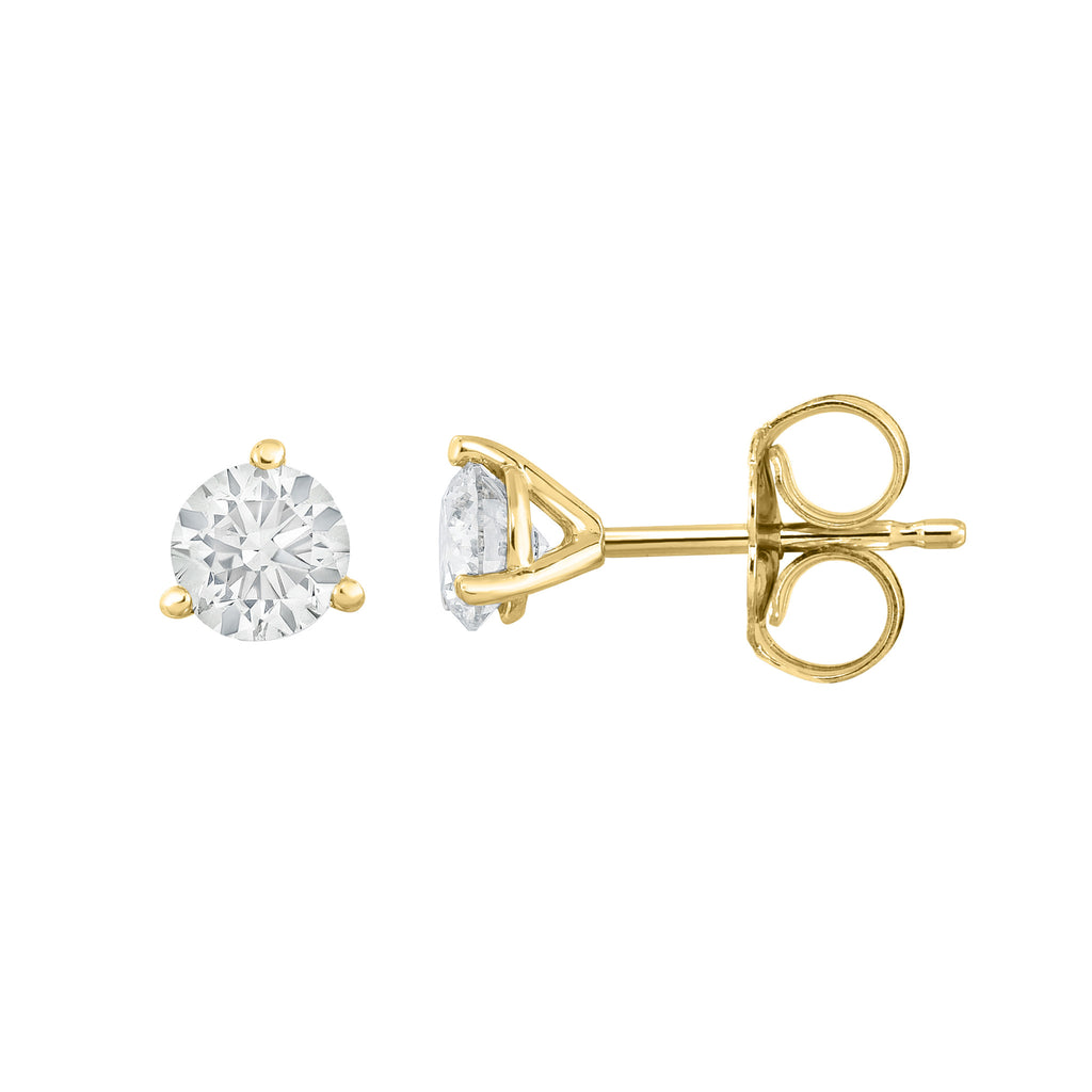 IGI Certified 14K  Gold Diamond (0.50 Ct, I-J, I1-I2) Martini Stud Earrings