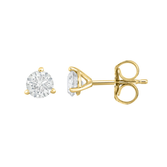 IGI Certified 14K White Gold Diamond (1.00 Ct, I-J, I1-I2) Martini Stud Earrings