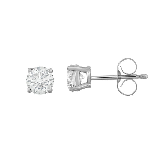 IGI Certified 14K  Gold Diamond (0.70 Ct, I-J Color, I1-I2 Clarity) Stud Earrings