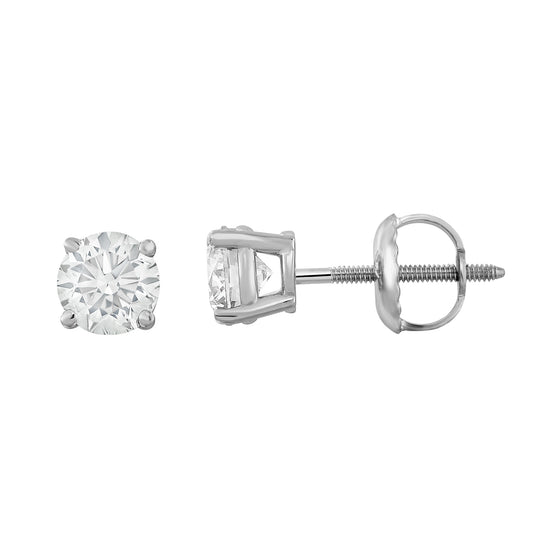 IGI Certified 14K Gold Diamond (0.70 Ct, I-J, I1-I2) Stud Earrings With Screw-Backs