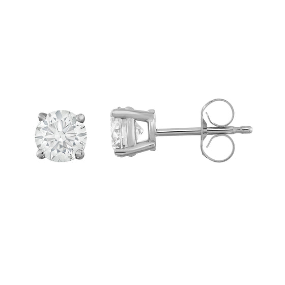 IGI Certified 14K Gold Diamond (1 Ct, I-J Color, I1-I2 Clarity) Stud Earrings