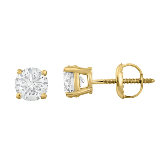 IGI Certified 14K  Gold Diamond (1 Ct, I-J, I1-I2) Stud Earrings With Screw-Backs