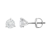 IGI Certified 14K  Gold Diamond (1 Ct, I-J, I1-I2) Martini Stud Earrings With Screw-Backs