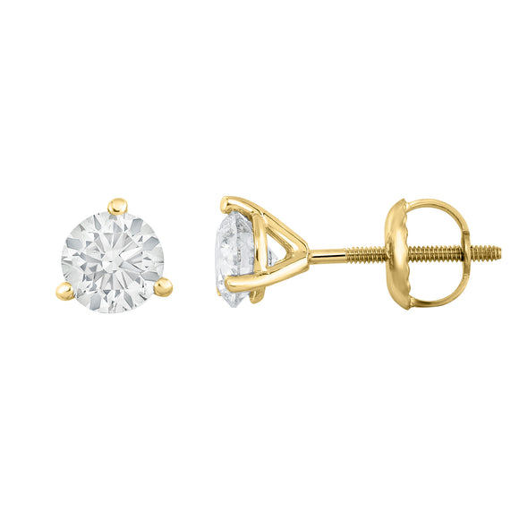 IGI Certified 14K  Gold Diamond (0.70 Ct, I-J, I1-I2) Martini Stud Earrings With Screw-Backs