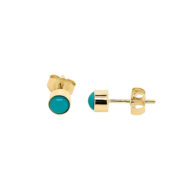 14K Gold Turquoise Stud Earrings (4 MM; Round Cut; Bezel Setting)