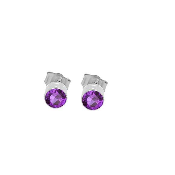 14K Gold Amethyst Stud Earrings (4 MM; Round Cut; Bezel Setting)