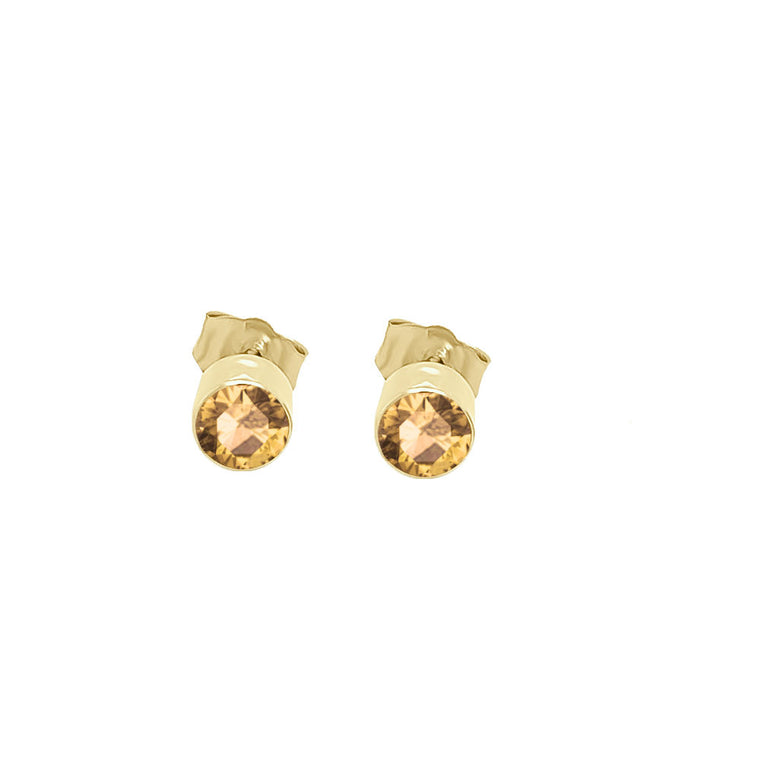 14K Gold Citrine Stud Earrings (4 MM; Round Cut; Bezel Setting)