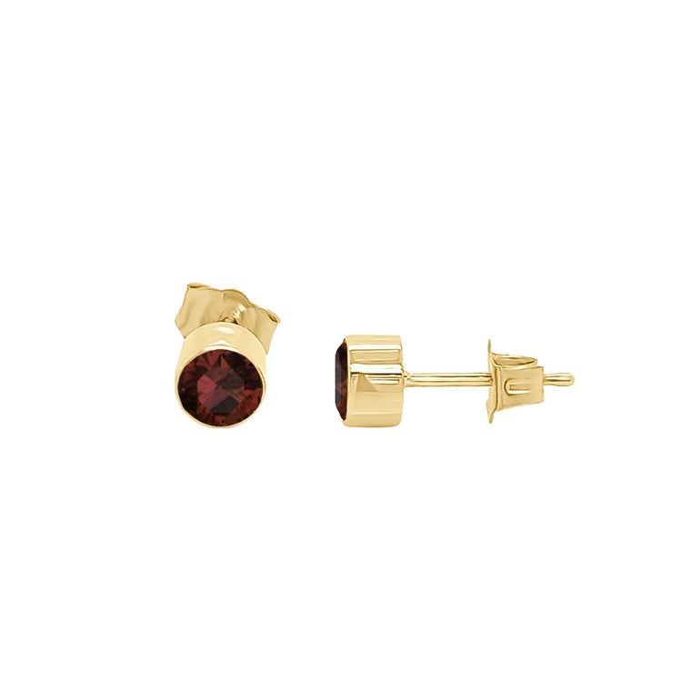 14K Gold Garnet Stud Earrings (4 MM; Round Cut; Bezel Setting)