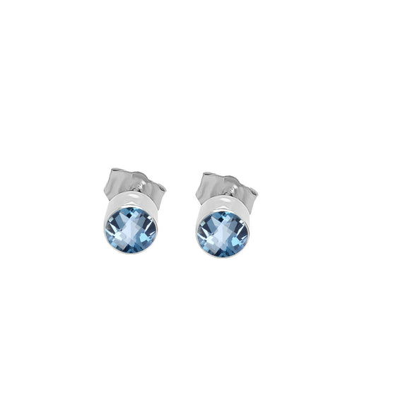 14K Gold London Blue Topaz Stud Earrings (4 MM; Round Cut; Bezel Setting)