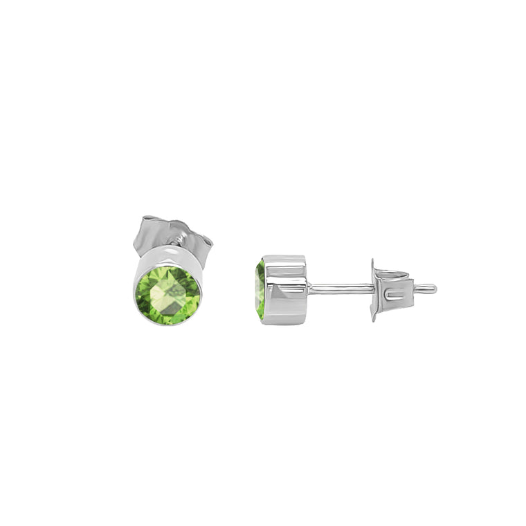 14K Gold Peridot Stud Earrings (4 MM; Round Cut; Bezel Setting)