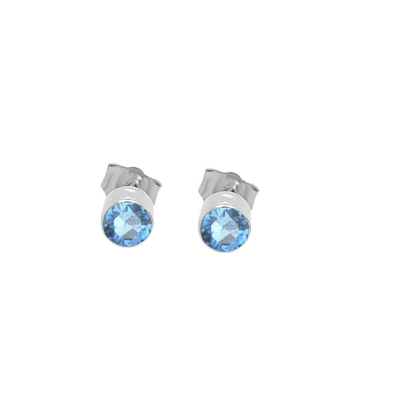 14K Gold Swiss Blue Topaz Stud Earrings (4 MM; Round Cut; Bezel Setting)