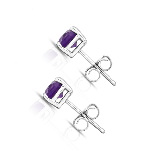 14K White Gold Amethyst Stud Earrings (5 MM; Cushion Cut)