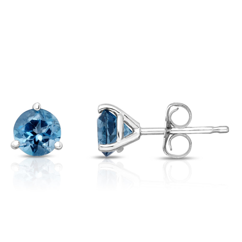 14K White or Yellow Gold London Blue Topaz Stud Earrings (5 MM; Round; Martini)