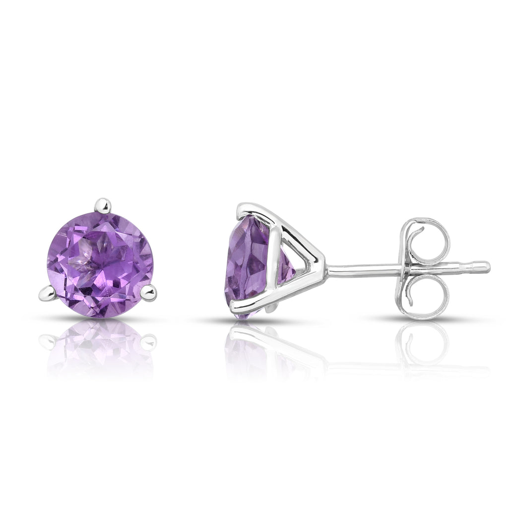 14K White or Yellow Gold Amethyst Stud Earrings (6 MM; Round; Martini)