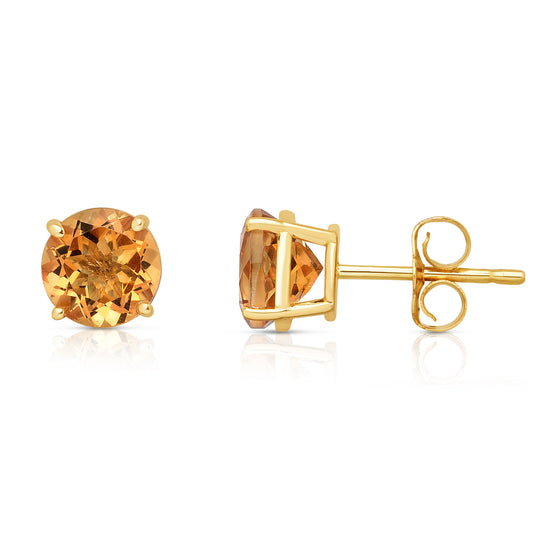 14K Yellow Gold Citrine Stud Earrings (6 MM; Round Cut)
