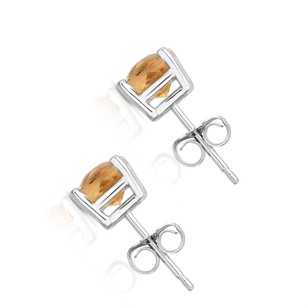 14K White Gold Citrine Stud Earrings (6 MM; Cushion Cut)