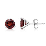 14K White or Yellow Gold Garnet Stud Earrings (6 MM; Round Cut; Martini Setting)