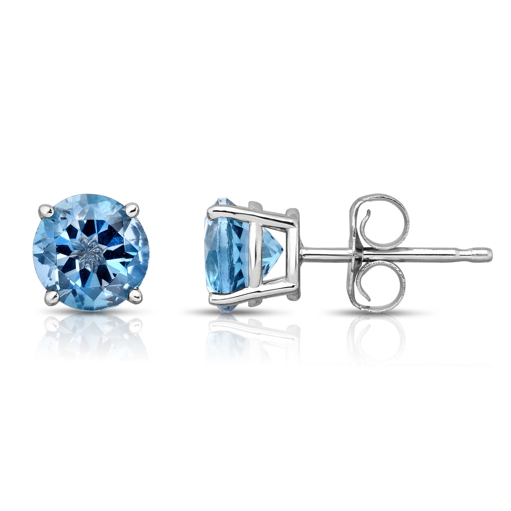 14K White Gold London Blue Topaz Stud Earrings (6 MM; Round Cut)