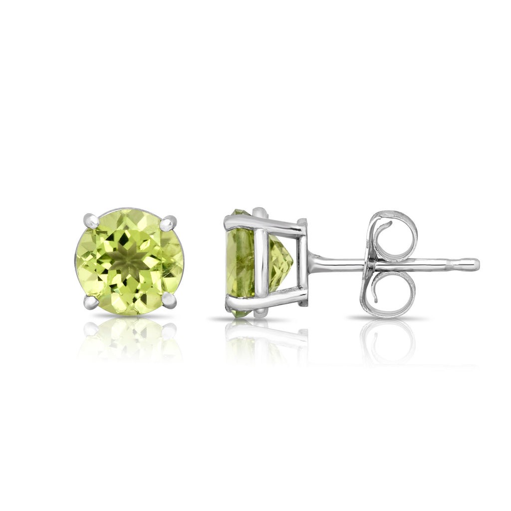 14K White Gold Peridot Stud Earrings (6 MM; Round Cut)