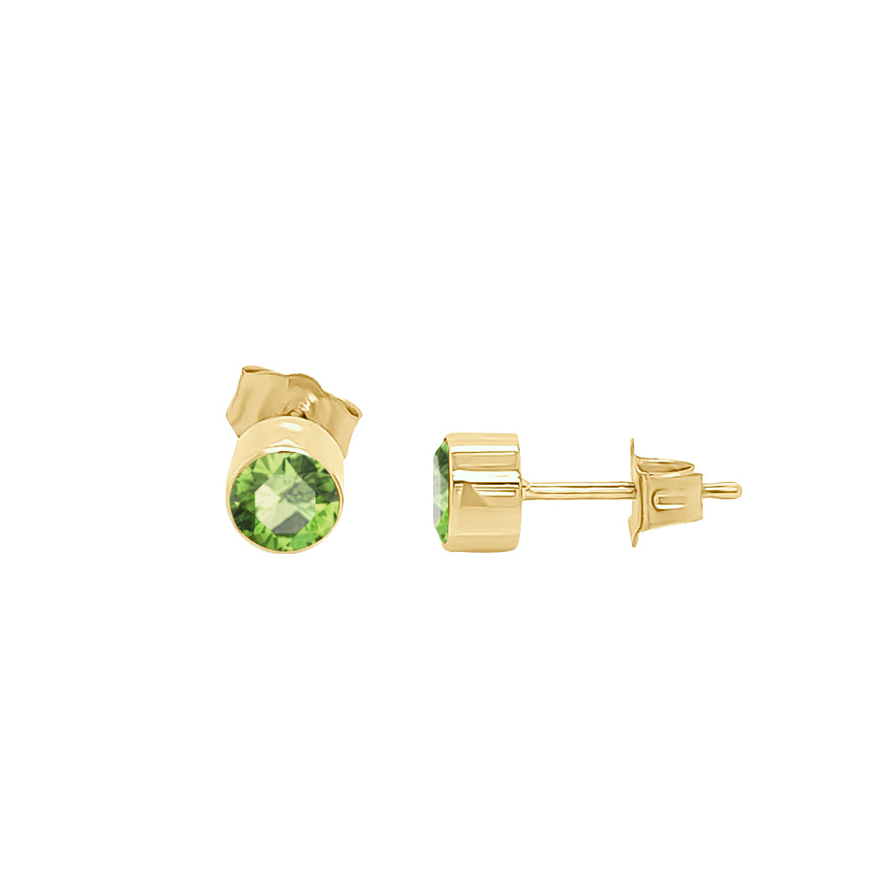 14K Gold Pear Shape Gemstone & Diamond (0.04 Ct, G-H Color, SI2-I1 Clarity) Mismatched Earring Set