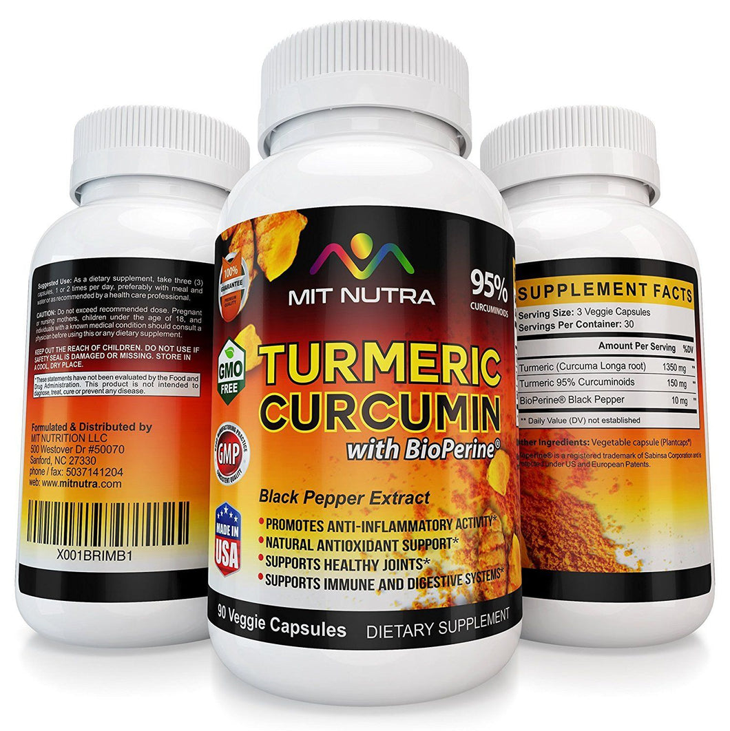 Turmeric - 95% Curcuminoids with BioPerine - 60 Vegetable Capsules (One Month Supply) - MIT Nutritions