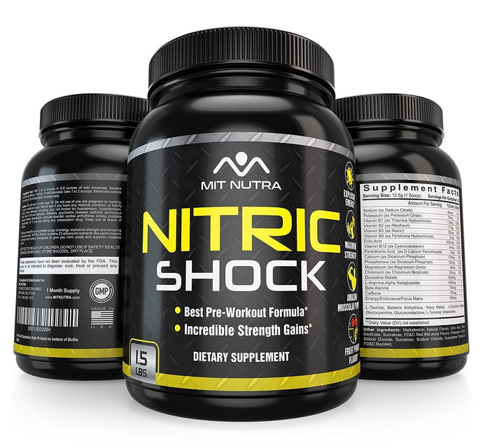 Nitric Shock Pre-Workout Formula - Maximum Strength - Fruit Punch Flavor - MIT Nutritions
