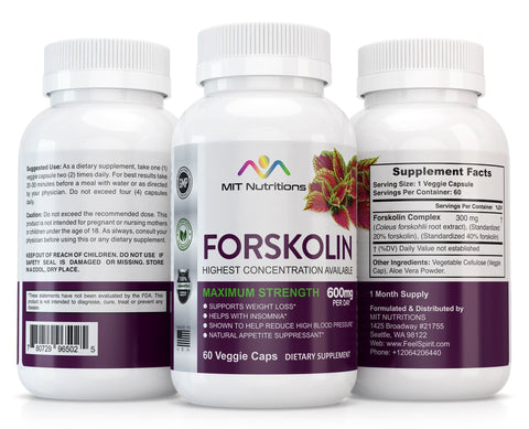 Forskolin 40% - 600mg Per Day - Maximum Strength Formula - 100% Natural Coleis Forskohlii Root Extract with Aloe Vera
