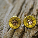 Copper Blush 9MM Bullet Casing Earrings With Antique Pink Swarovski Crystals