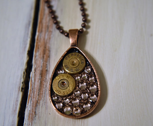 Bullets & Antique Pink Swarovski Crystal Copper Teardrop Necklace