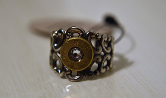 Romantic Badass Bullet Ring Antique Silver & Clear Swarovski Crystal