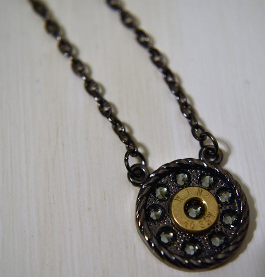'Round Rebel' Necklace - Gunmetal Base with Black Diamond Swarovski Crystals