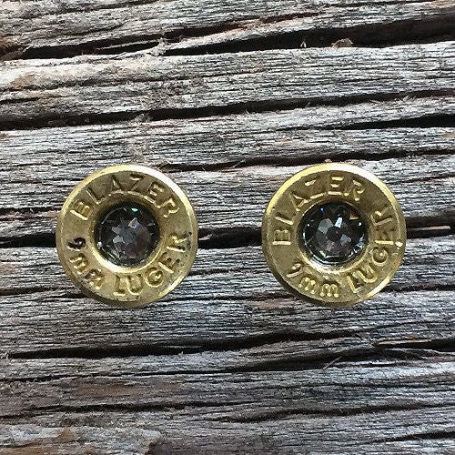 Twilight Radiance 9MM Bullet Casing Earrings With Black Diamond Swarovski Crystals