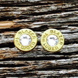 Brilliant Babe 9MM Bullet Casing Earrings With Clear Swarovski Crystals