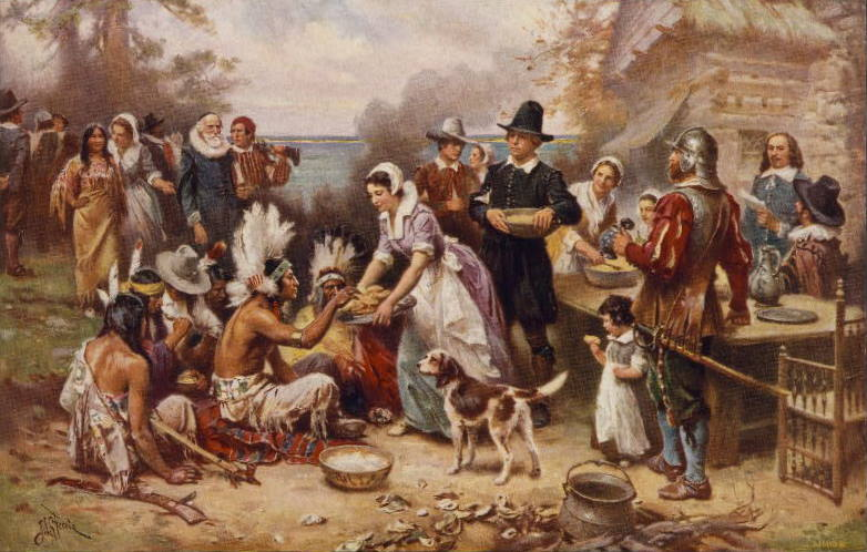 Painting by Jean Leon Gerome Ferris, titled The First Thanksgiving 1621, published in 1932
