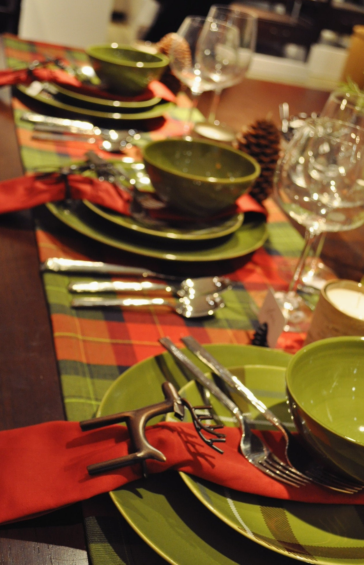 Table set with holiday decor