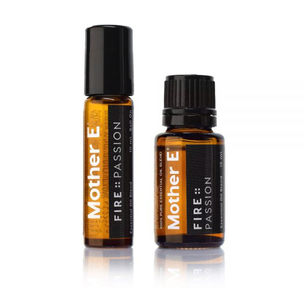 Mother E FIRE::PASSION Essential Oils Blend, roll-on bottle and standard bottle