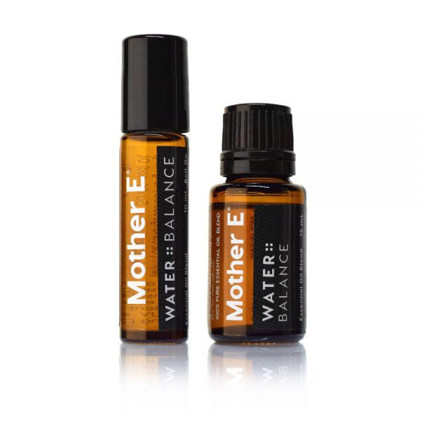 Mother E WATER::BALANCE Essential Oils Blend, roll-on bottle and standard bottle