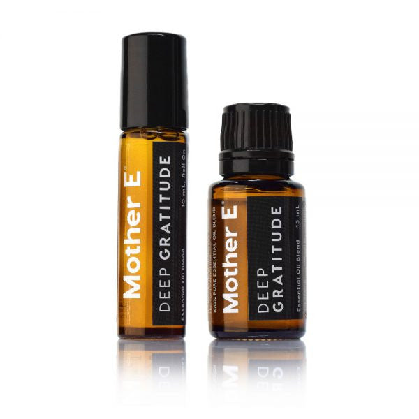 Mother E DEEP GRATITUDE Essential Oils Blend, roll-on bottle and standard bottle